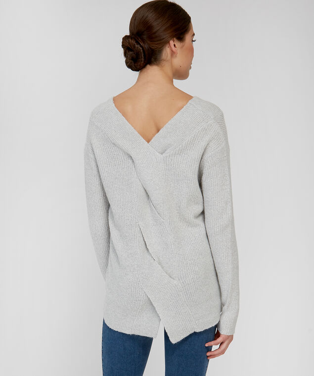 double v-neck sweater - wb, LIGHT GREY, hi-res