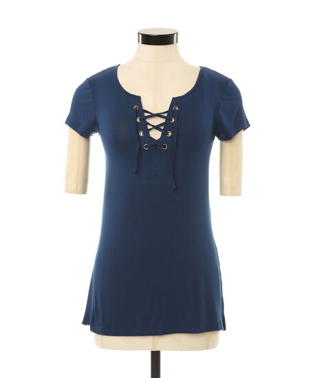 lace up tee, NAVY, hi-res