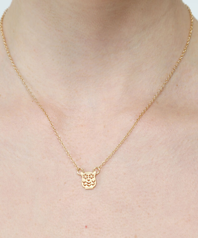 owl pendant necklace, GOLD, hi-res
