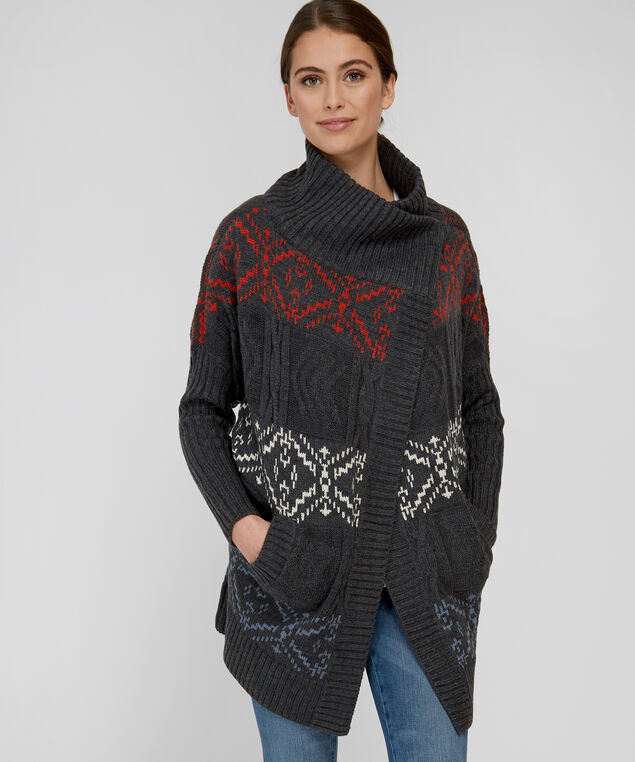 patterned wrap cardigan - wb, CHARCOAL, hi-res