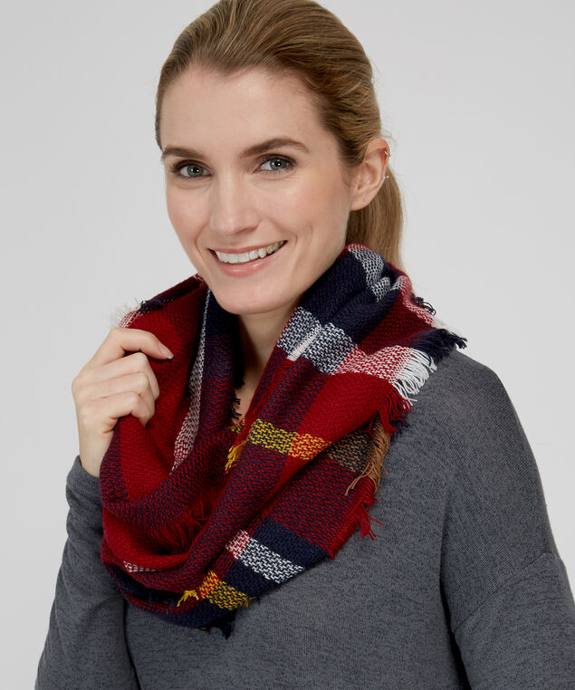 plaid infinity scarf, BURGUNDY COMBO, hi-res