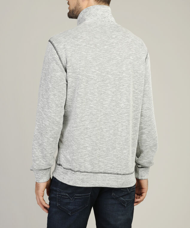mock neck fleece, GREY, hi-res