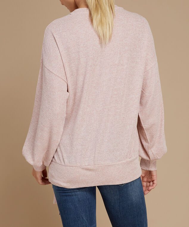 balloon sleeve pullover - wb, PINK, hi-res