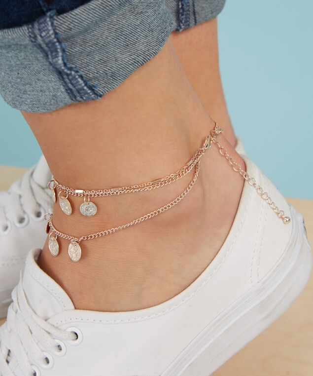 multi chain medallion anklet, ROSE GOLD, hi-res