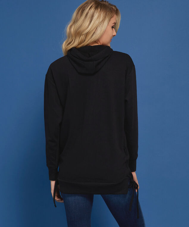 long hooded pullover - wb, BLACK, hi-res