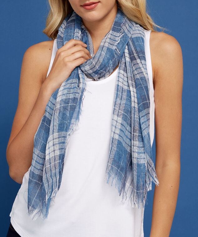 blue plaid scarf, BLUE PLAID, hi-res