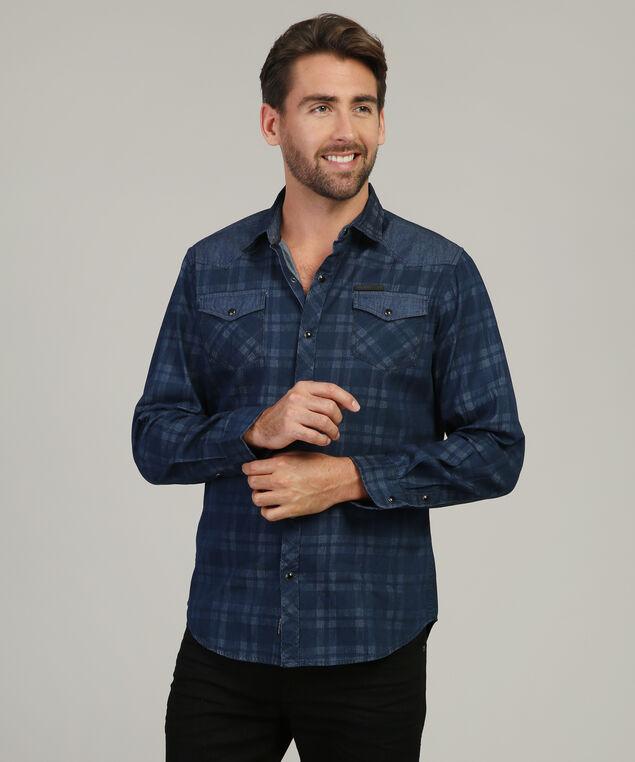 plaid shirt with shoulder detail - wb, BLUE, hi-res