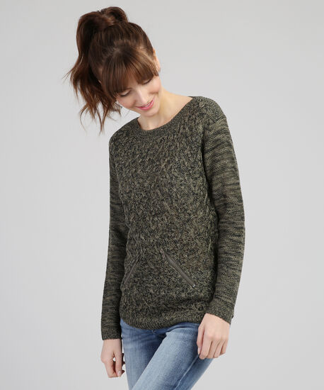 crew sweater with faux pockets - wb, LODEN, hi-res