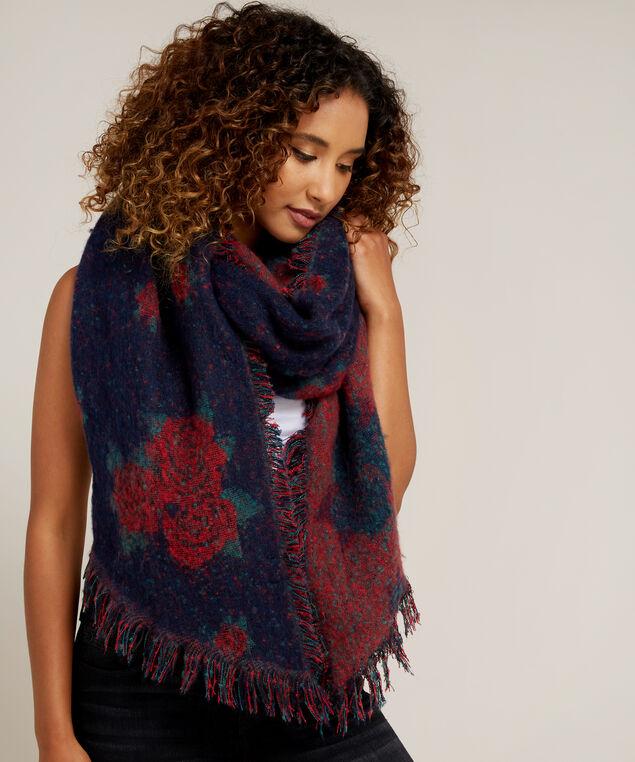 rose print blanket scarf, NAVY/RED, hi-res
