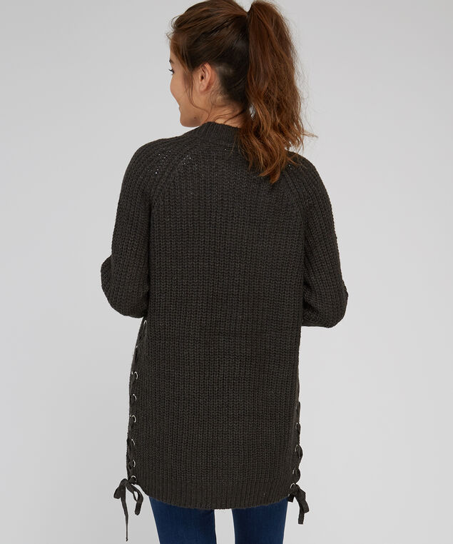 lace up side cardigan - wb, ASH GREY, hi-res