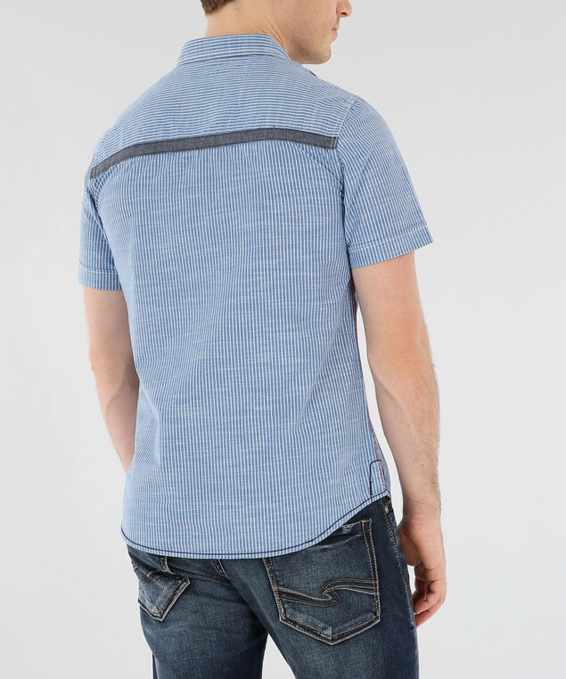 striped shirt with embroidered details, BLUE, hi-res