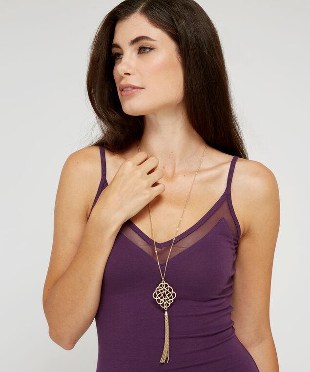 filigree pendant necklace, GOLD, hi-res