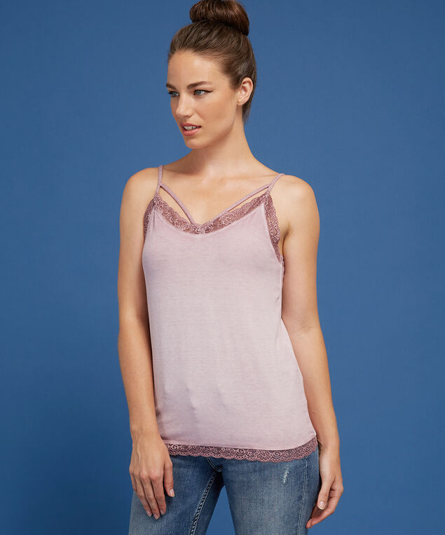 strappy lace trim cami - wb, WASH LAVENDER, hi-res