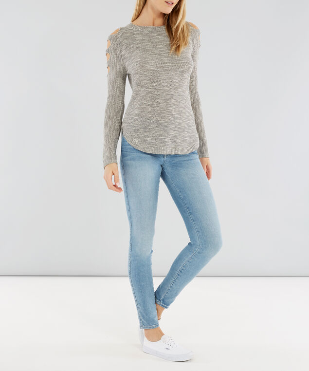cut-out sleeve detail sweater - wb, GREY TWIST, hi-res
