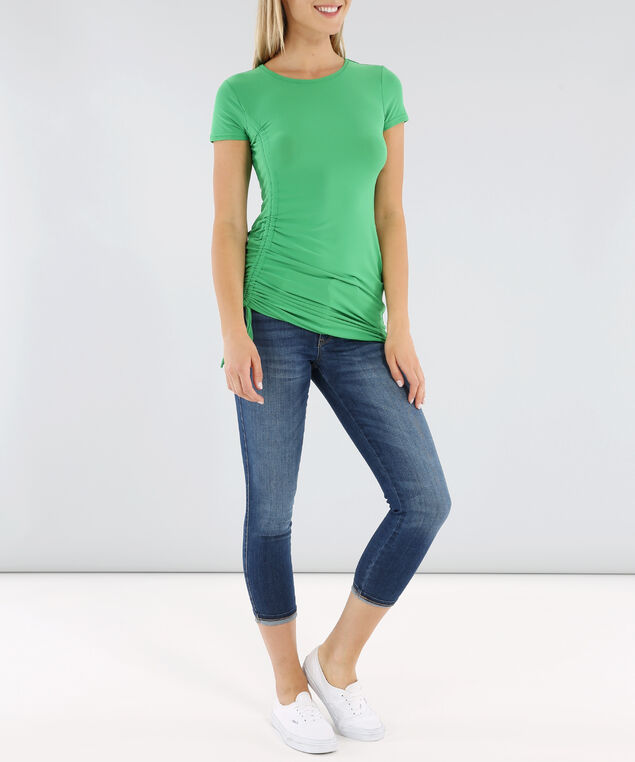 scoop neck ruched tee - wb, FERN GREEN, hi-res