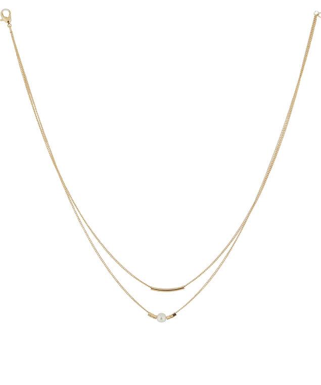 double strand pendant necklace, GOLD, hi-res