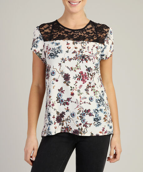lace yoke tee, CREAM FLORAL, hi-res