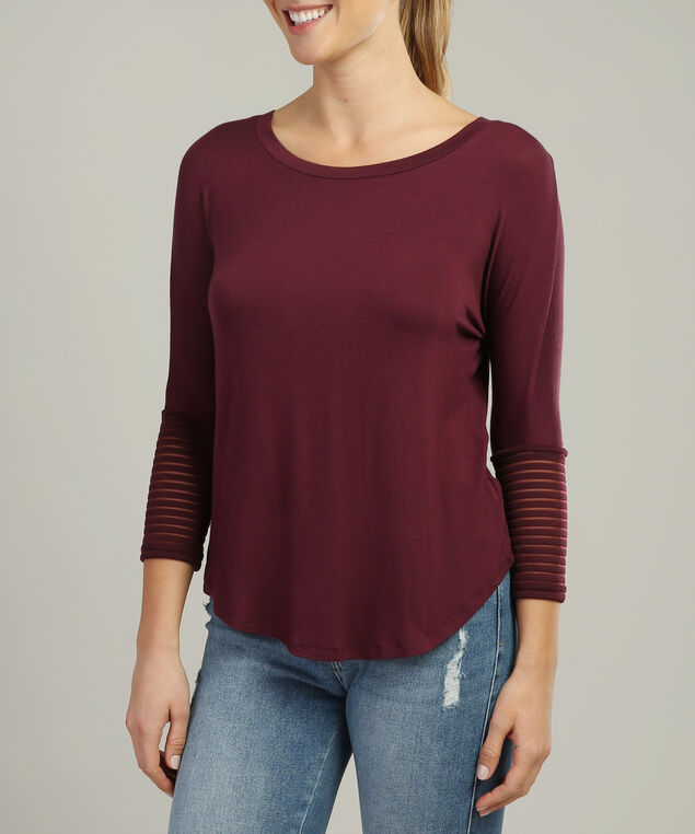 relaxed top with mesh detailed sleeves - wb, WINE, hi-res