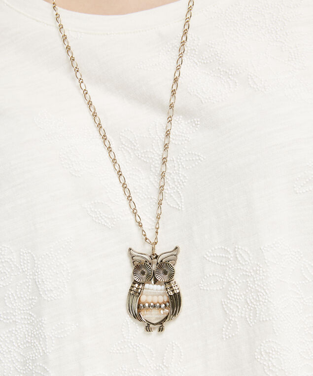 beaded owl necklace, ANTIQUE BRASS, hi-res