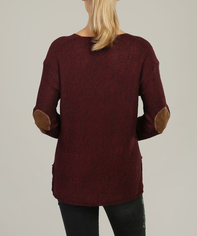 v-neck popover with elbow patch - wb, BURGUNDY, hi-res
