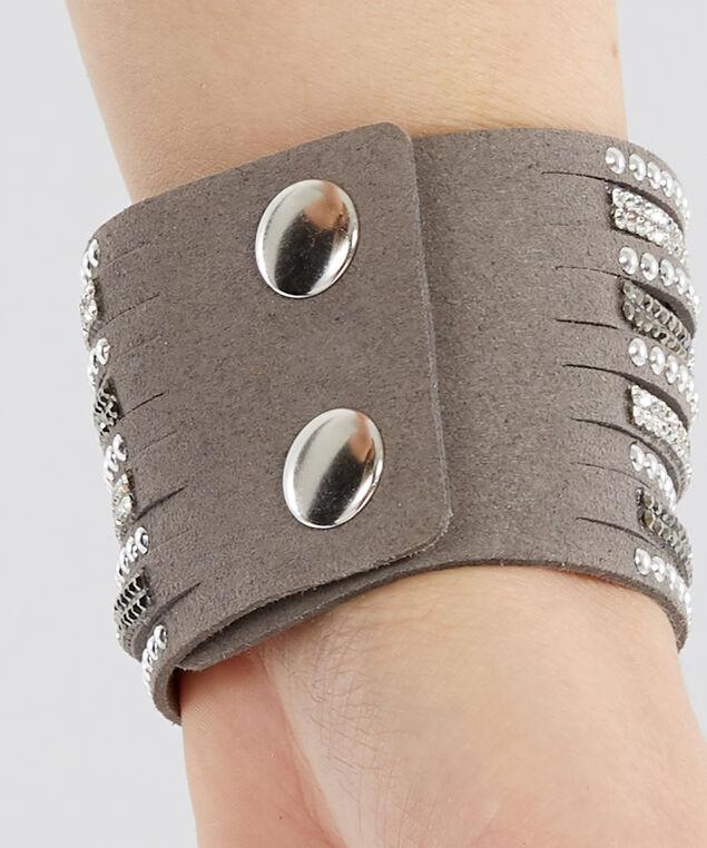 grey multi strap bracelet, SILVER/GREY, hi-res