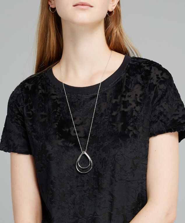 tear drop pendant necklace, SILVER, hi-res