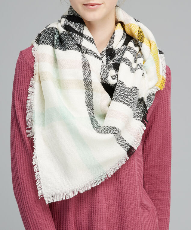multi plaid scarf, WHITE, hi-res