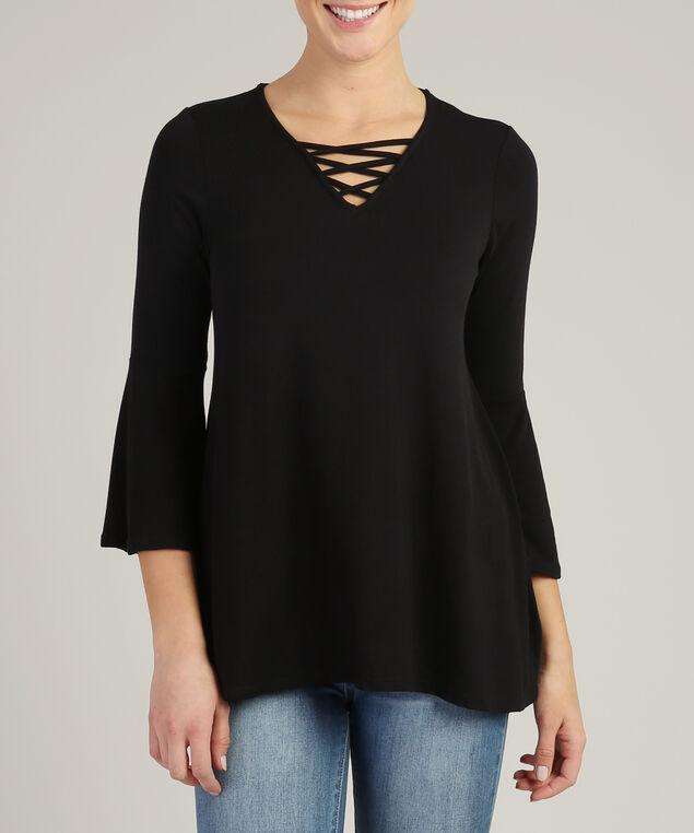 flutter long sleeve with lattice neckline, BLACK, hi-res