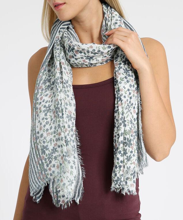 oblong floral scarf, BLUE FLORAL, hi-res