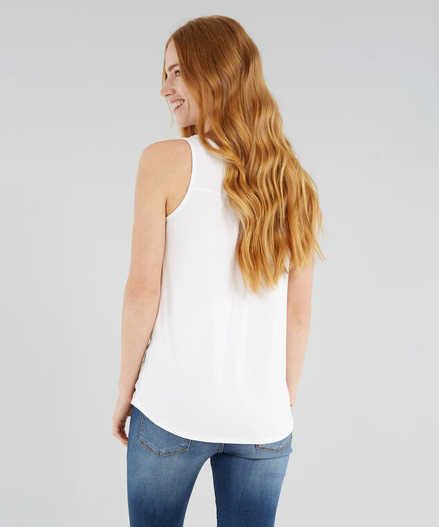 knit back zipper front top - wb, WHITE, hi-res