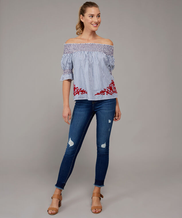 smocked off shoulder top with embroidery - wb, STRIPE WITH EMBROIDERY, hi-res