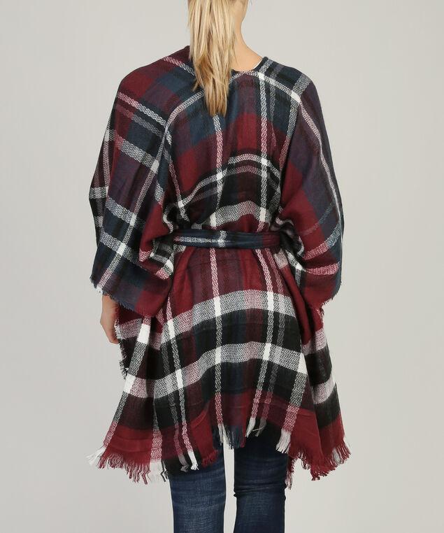 plaid kimono with belt, BURG/RED, hi-res