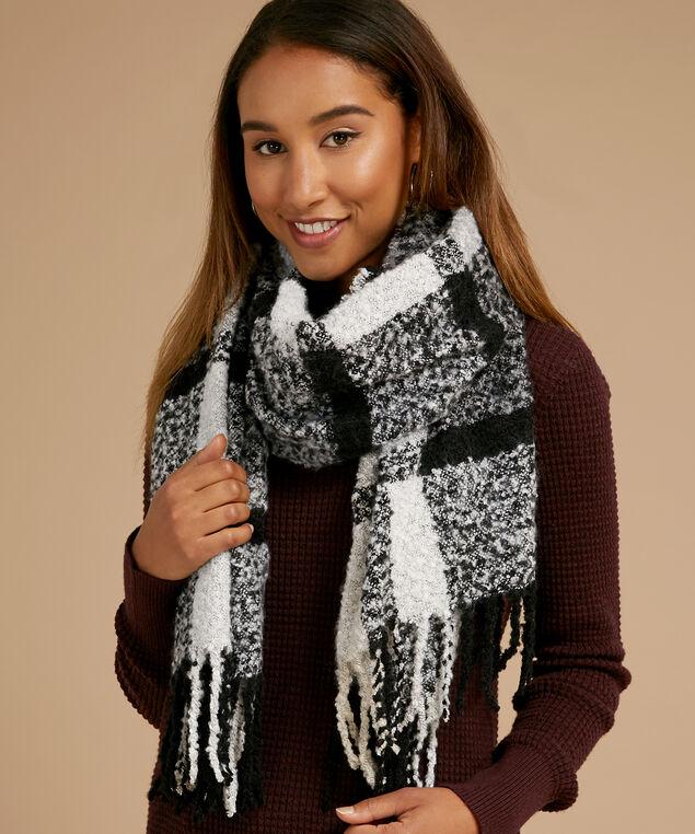 plaid blanket scarf, BLACK COMBO, hi-res