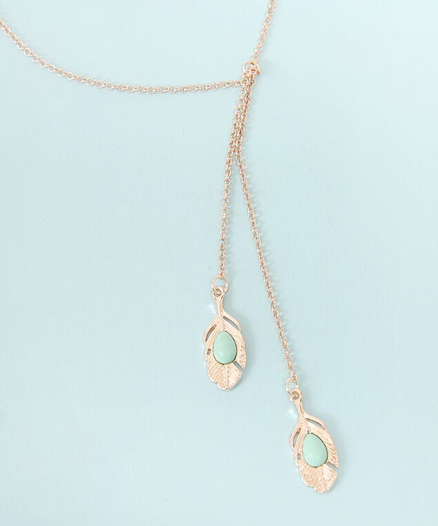 feather pendant long necklace, ROSE GOLD, hi-res