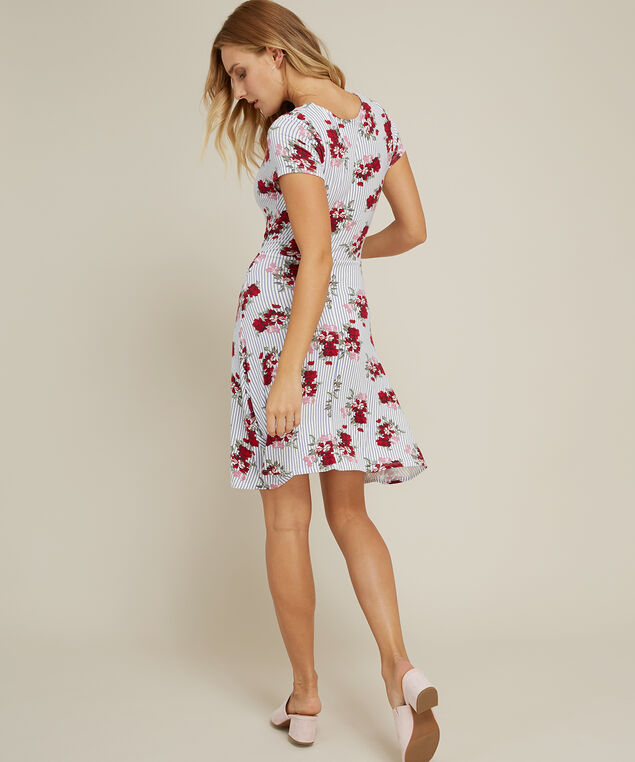 striped floral dress with tie back - wb, RUBY ROSE, hi-res