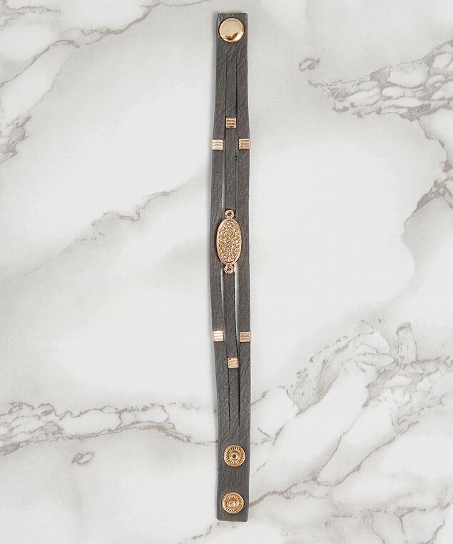 multi strap pu bracelet, GREY, hi-res