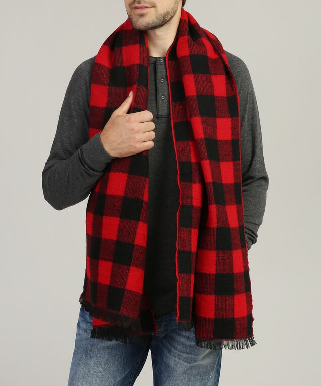 men's buffalo print scarf, RED/BLACK, hi-res