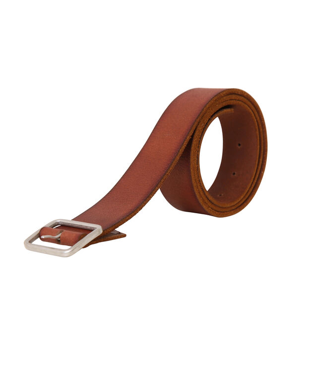 leather belt with square buckle, BROWN, hi-res