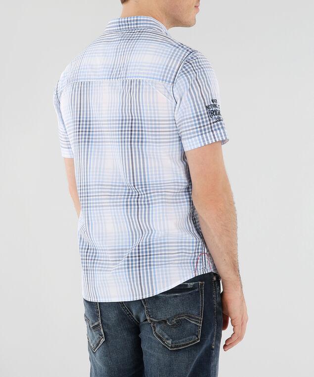 plaid woven shirt, BLUE, hi-res