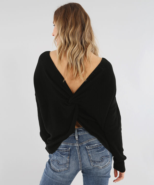 3/4 sleeve knotted back sweater - wb, BLACK, hi-res