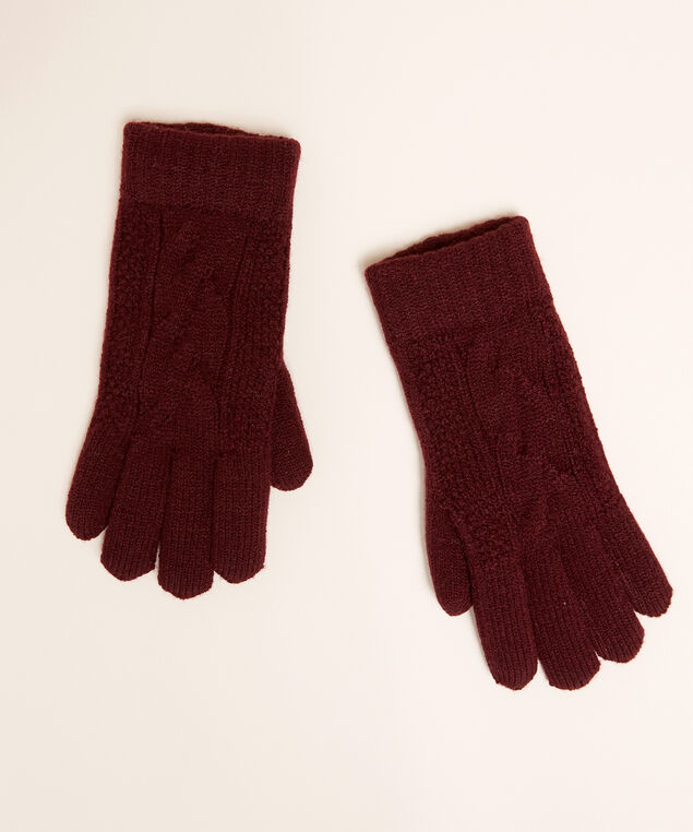 cable knit glove with chenille lining, BORDEAUX, hi-res