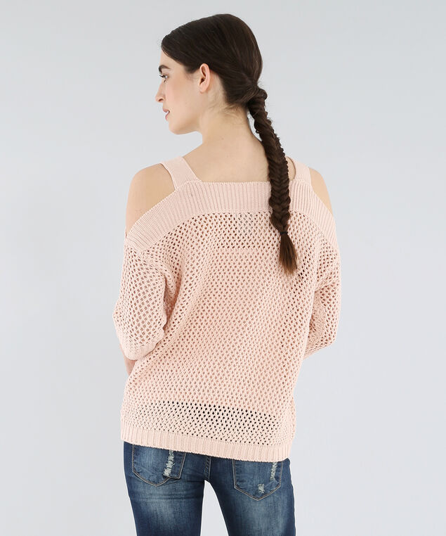 cold shoulder sweater - wb, DUSTY PINK, hi-res