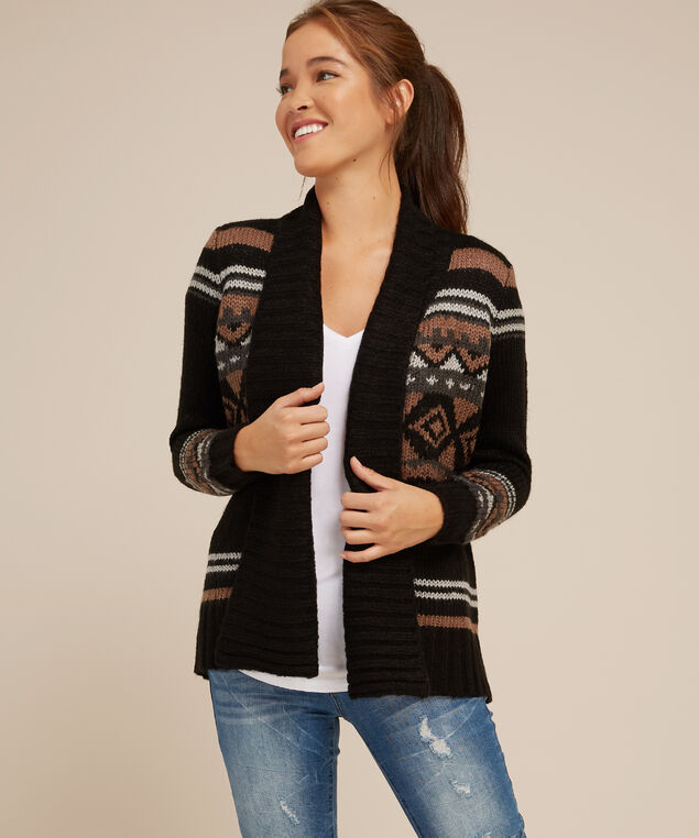 patterned cardigan - wb, BLACK COMBO, hi-res