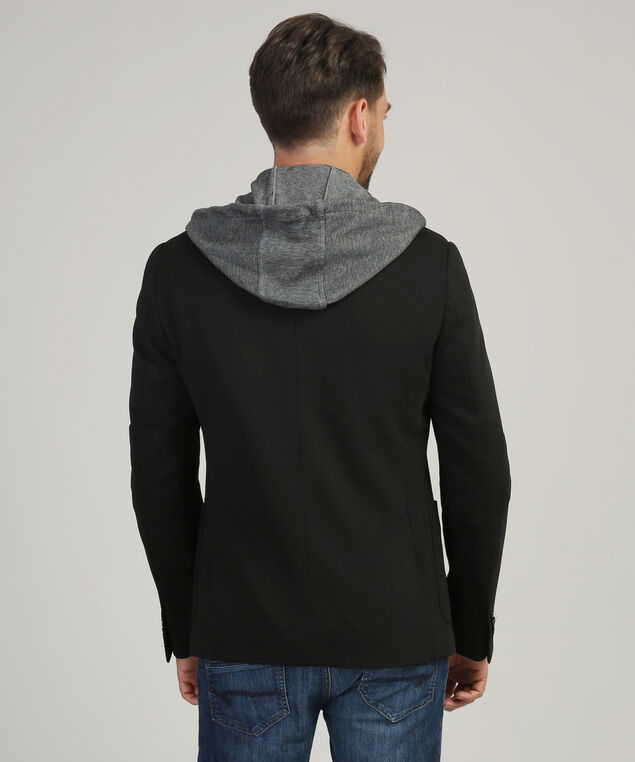 blazer with fooler hoodie, BLACK, hi-res