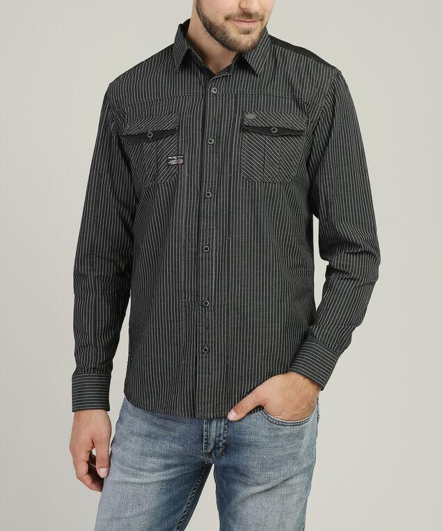 striped woven shirt, BLACK, hi-res