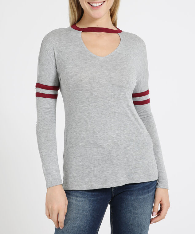 gigi neck tee - wb, HEATHER GREY, hi-res