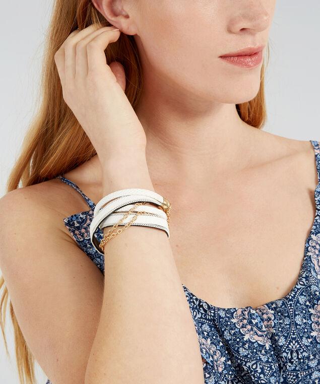multi strap pu bracelet, WHITE, hi-res