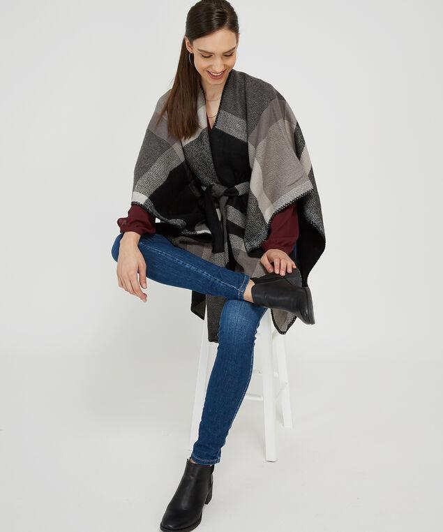 belted plaid sweater, BLACK, hi-res