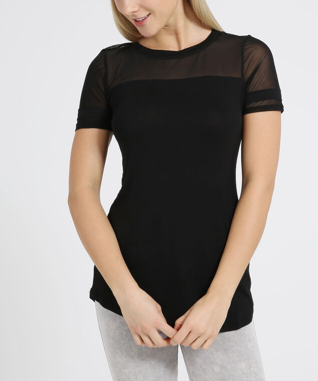tee with contrasting sleeves - wb, BLACK, hi-res