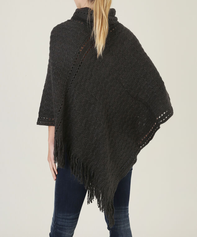poncho with cable stitch detail - wb, GREY MELANG, hi-res